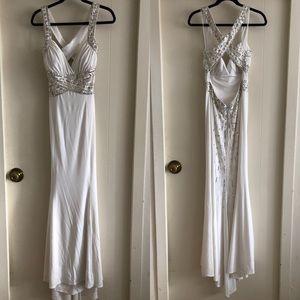 Hailey Logan White Crisscross Beaded Prom Dress